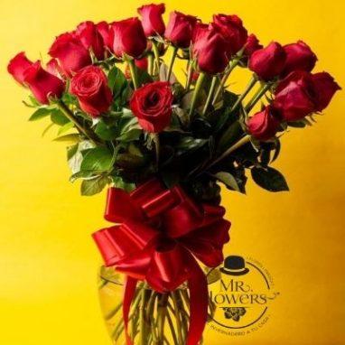 Jarron con 24 rosas rojas