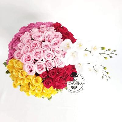 Arreglo con 100 Rosas y Orquidea 2